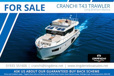 Cranchi T43 Eco Trawler Craft in UK ready to deliver - offered for sale by Tingdene Boat Sales